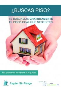 Cartel de Búsqueda de Pisos de Inmobiliarias Alquiler Sin Riesgo